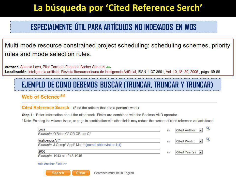 La búsqueda por Cited Reference Serch ESPECIALMENTE ÚTIL PARA ARTÍCULOS NO INDEXADOS EN WOS EJEMPLO DE COMO DEBEMOS BUSCAR (TRUNCAR, TRUNCAR Y TRUNCAR