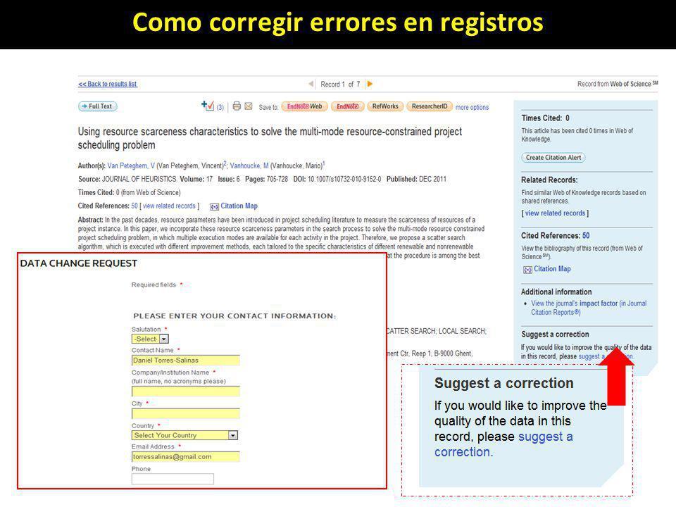 Como corregir errores en registros