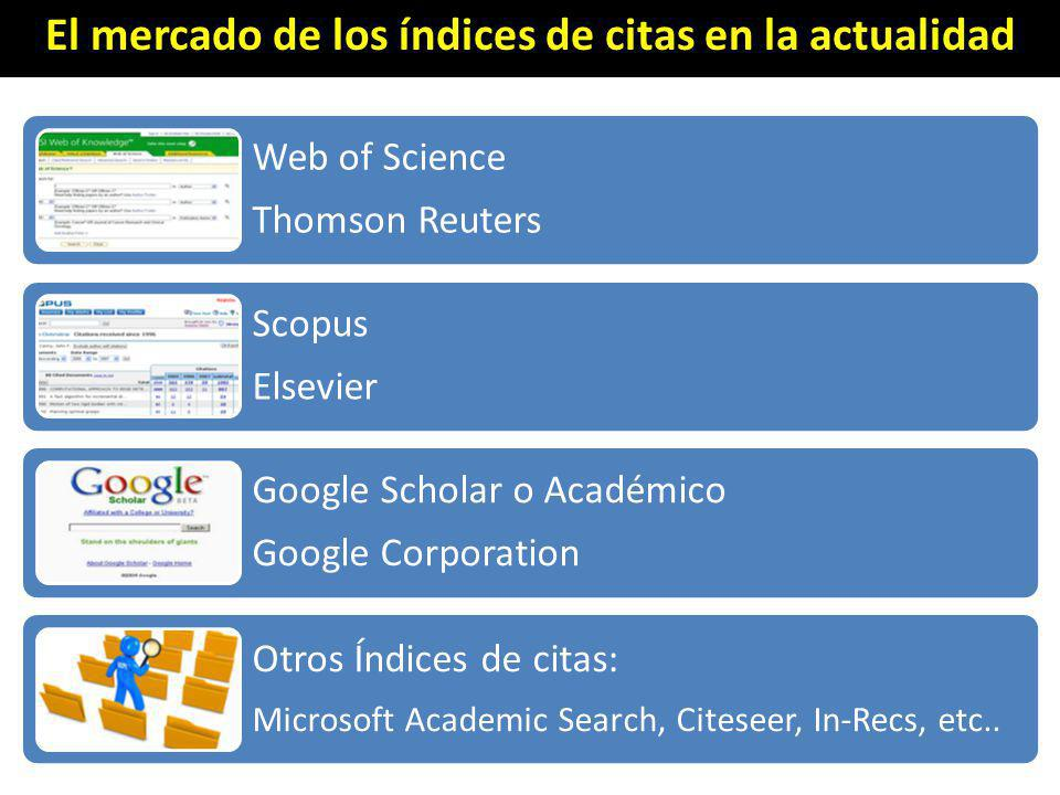 El mercado de los índices de citas en la actualidad Web of Science Thomson Reuters Scopus Elsevier Google Scholar o Académico Google Corporation Otros Índices de citas: Microsoft Academic Search, Citeseer, In-Recs, etc..