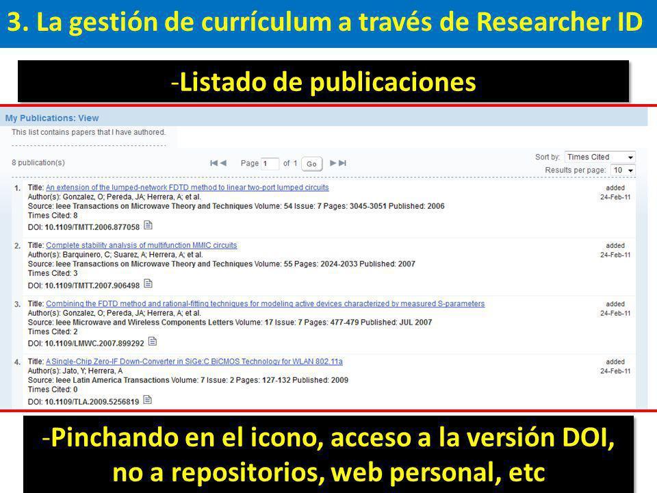3. La gestión de currículum a través de Researcher ID -Listado de publicaciones -Pinchando en el icono, acceso a la versión DOI, no a repositorios, we