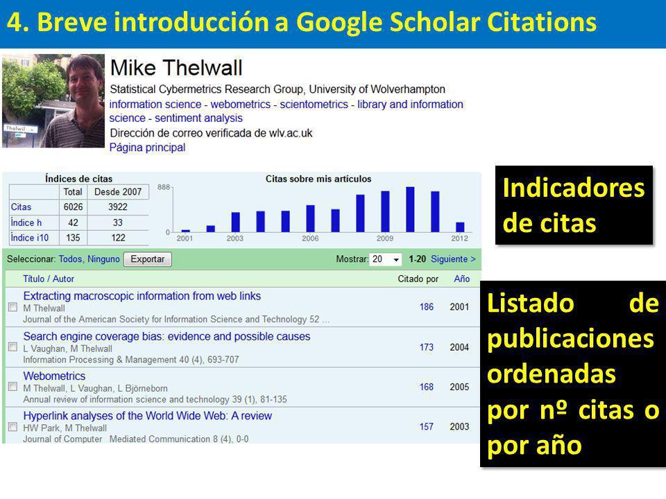 4. Breve introducción a Google Scholar Citations Listado de publicaciones ordenadas por nº citas o por año Indicadores de citas