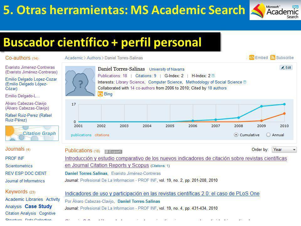 5. Otras herramientas: MS Academic Search Buscador científico + perfil personal