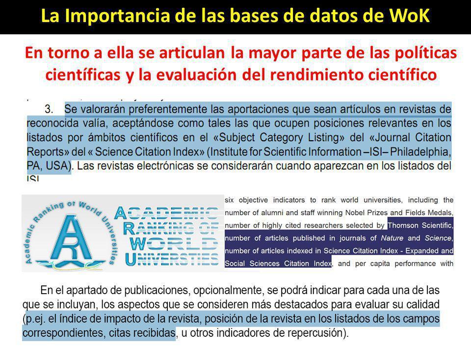 En torno a ella se articulan la mayor parte de las políticas científicas y la evaluación del rendimiento científico La Importancia de las bases de dat