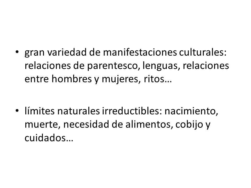gran variedad de manifestaciones culturales: relaciones de parentesco, lenguas, relaciones entre hombres y mujeres, ritos… límites naturales irreducti
