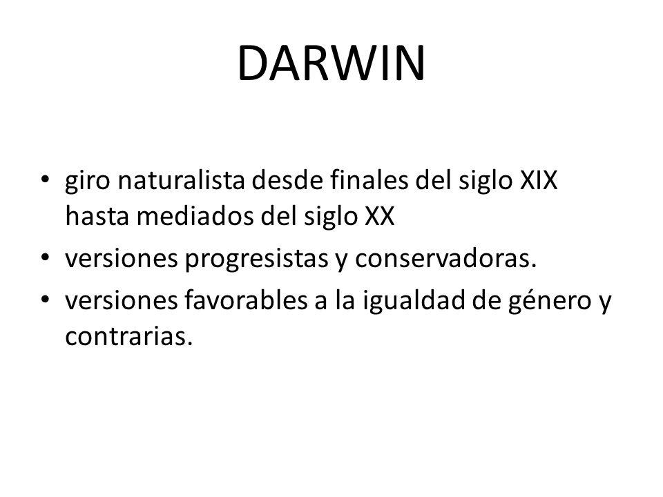 DARWIN giro naturalista desde finales del siglo XIX hasta mediados del siglo XX versiones progresistas y conservadoras. versiones favorables a la igua