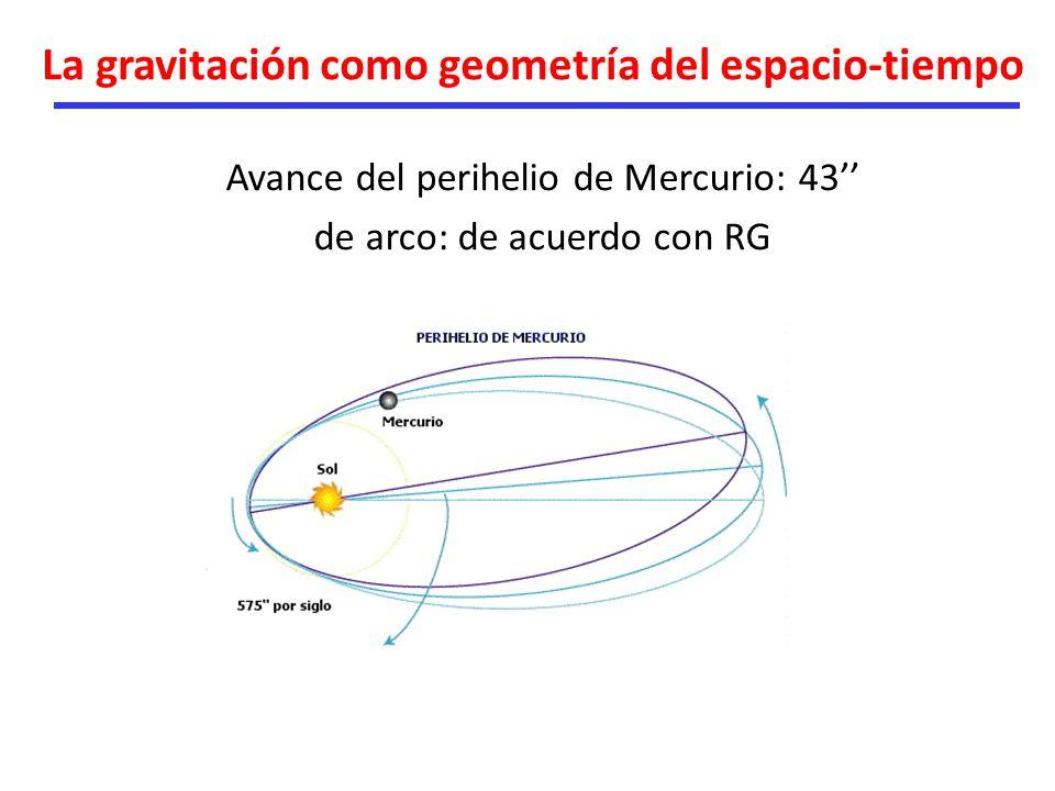 La gravitación como geometría del espacio-tiempo Avance del perihelio de Mercurio: 43 de arco: de acuerdo con RG
