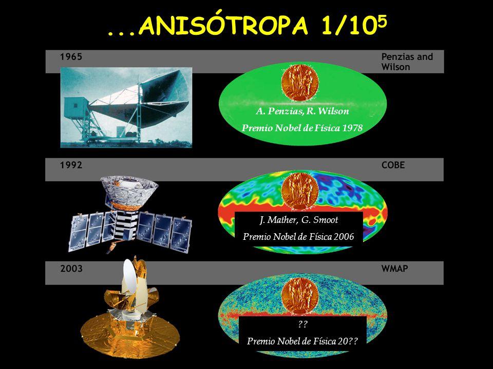 ...ANISÓTROPA 1/10 5 A. Penzias, R. Wilson Premio Nobel de Física 1978 J. Mather, G. Smoot Premio Nobel de Física 2006 ?? Premio Nobel de Física 20??