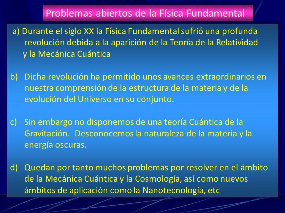Problemas abiertos de la Física Fundamental a) Durante el siglo XX la Física Fundamental sufrió una profunda revolución debida a la aparición de la Te