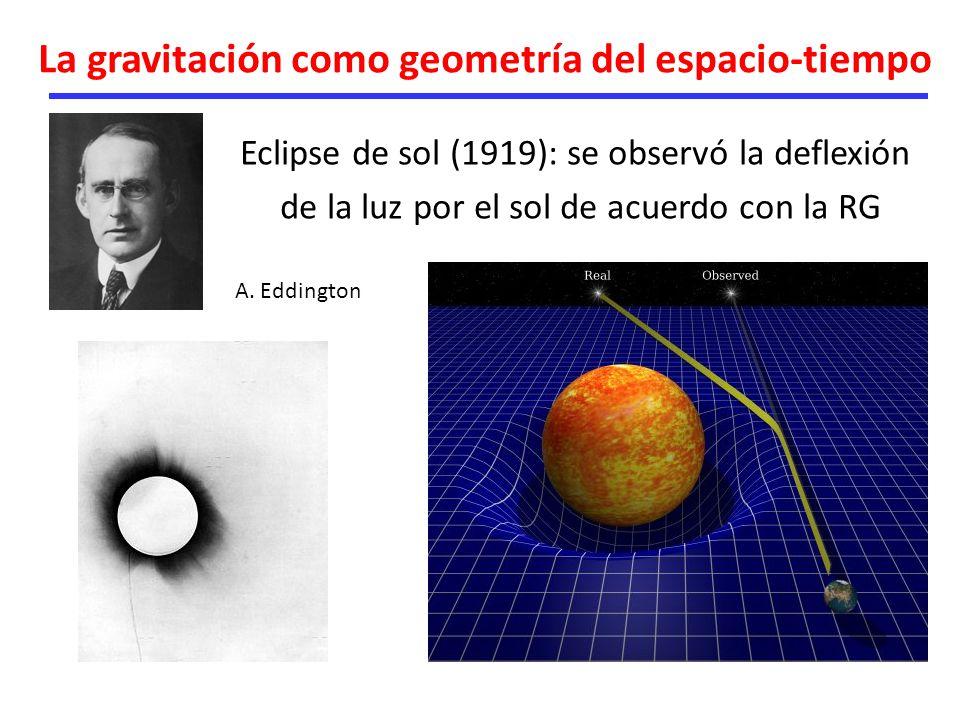 La gravitación como geometría del espacio-tiempo Eclipse de sol (1919): se observó la deflexión de la luz por el sol de acuerdo con la RG A. Eddington