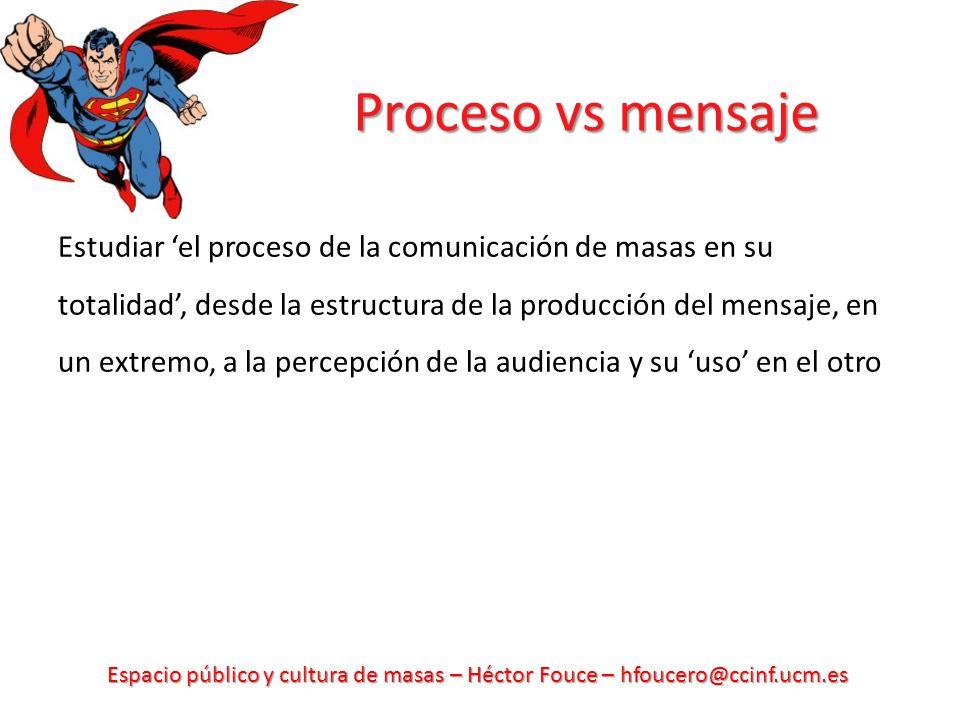 Espacio público y cultura de masas – Héctor Fouce – hfoucero@ccinf.ucm.es Proceso vs mensaje Estudiar el proceso de la comunicación de masas en su totalidad, desde la estructura de la producción del mensaje, en un extremo, a la percepción de la audiencia y su uso en el otro