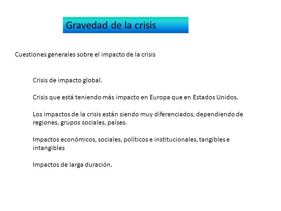 Gravedad de la crisis Cuestiones generales sobre el impacto de la crisis Crisis de impacto global.