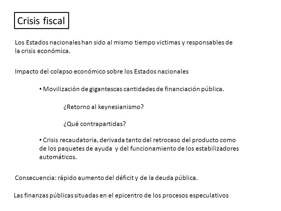 Impacto del colapso económico sobre los Estados nacionales Movilización de gigantescas cantidades de financiación pública.