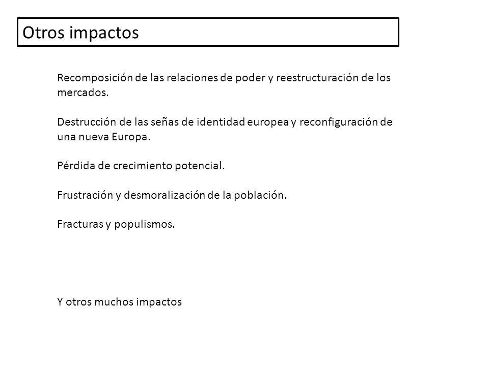 Otros impactos Recomposición de las relaciones de poder y reestructuración de los mercados.