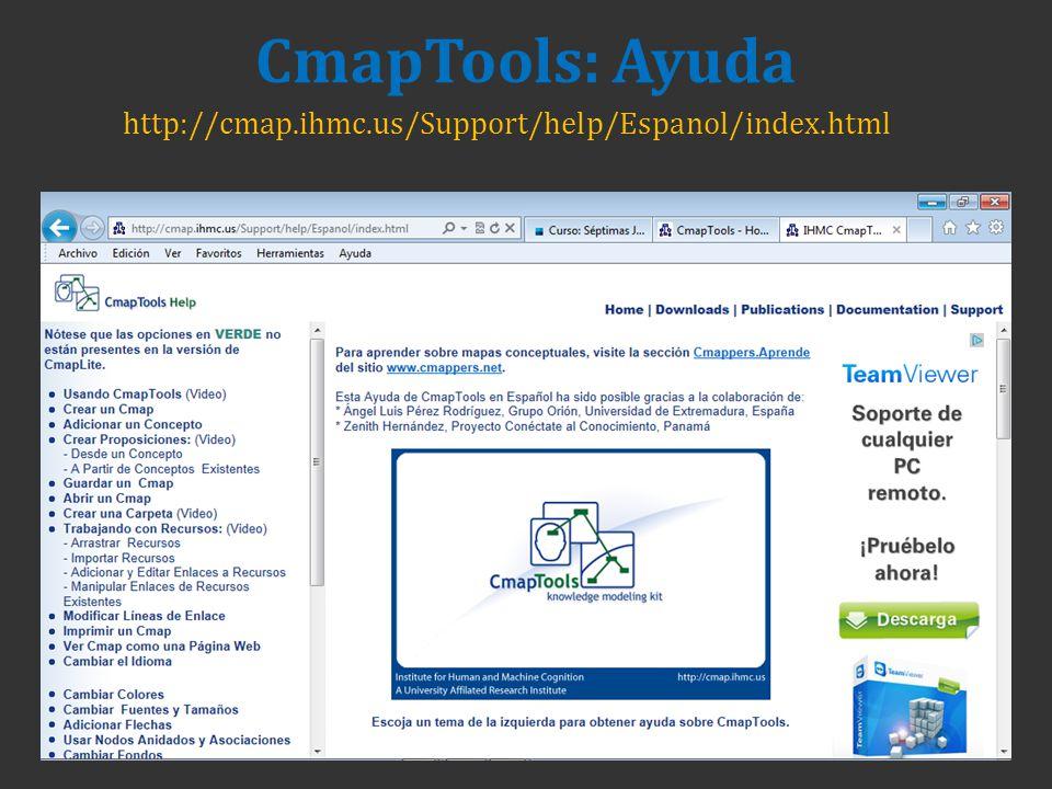 CmapTools: Ayuda http://cmap.ihmc.us/Support/help/Espanol/index.html