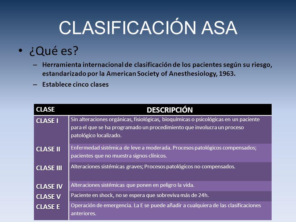 CLASIFICACIÓN ASA ¿Qué es? – Herramienta internacional de clasificación de los pacientes según su riesgo, estandarizado por la American Society of Ane