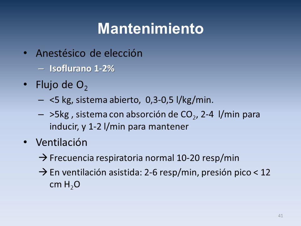 Mantenimiento Anestésico de elección – Isoflurano 1-2% Flujo de O 2 – <5 kg, sistema abierto, 0,3-0,5 l/kg/min. – >5kg, sistema con absorción de CO 2,