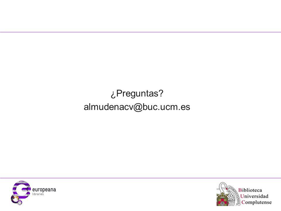 Place your organisation logo here ¿Preguntas almudenacv@buc.ucm.es