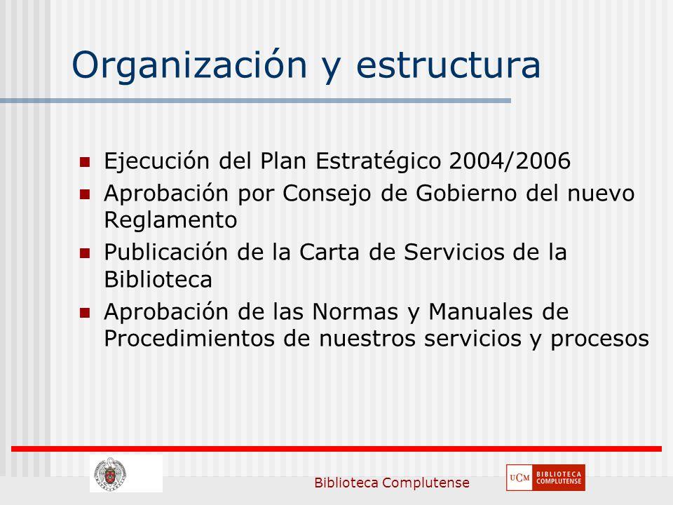 Biblioteca Complutense Organización y estructura Ejecución del Plan Estratégico 2004/2006 Aprobación por Consejo de Gobierno del nuevo Reglamento Publicación de la Carta de Servicios de la Biblioteca Aprobación de las Normas y Manuales de Procedimientos de nuestros servicios y procesos