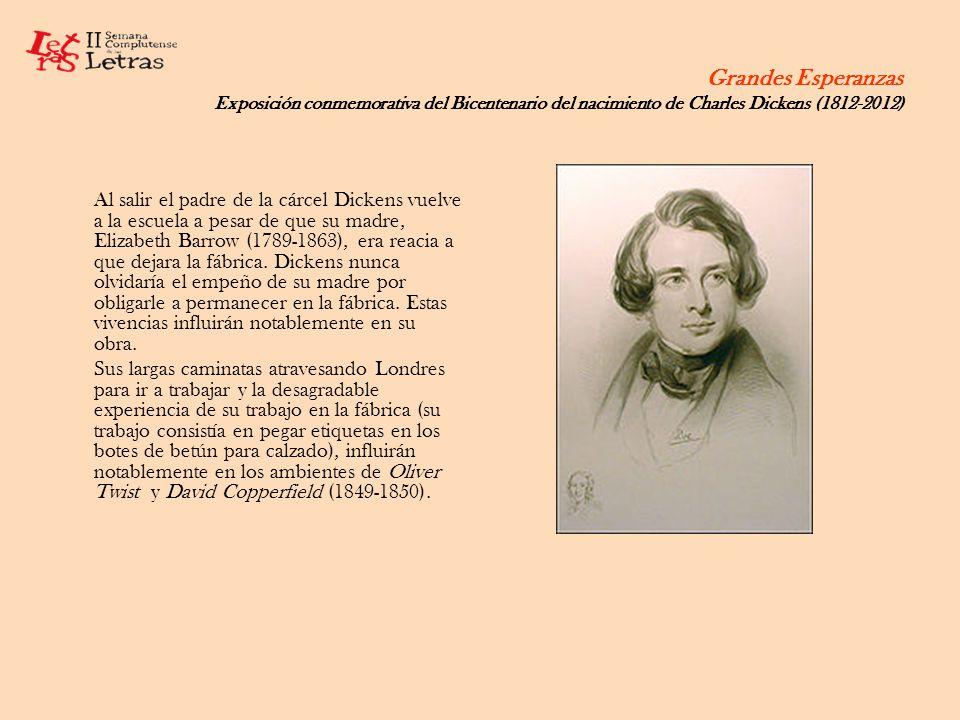 Grandes Esperanzas Exposición conmemorativa del Bicentenario del nacimiento de Charles Dickens (1812-2012) A pesar de su vuelta a los estudios, la mayor parte de su educación fue autodidacta.