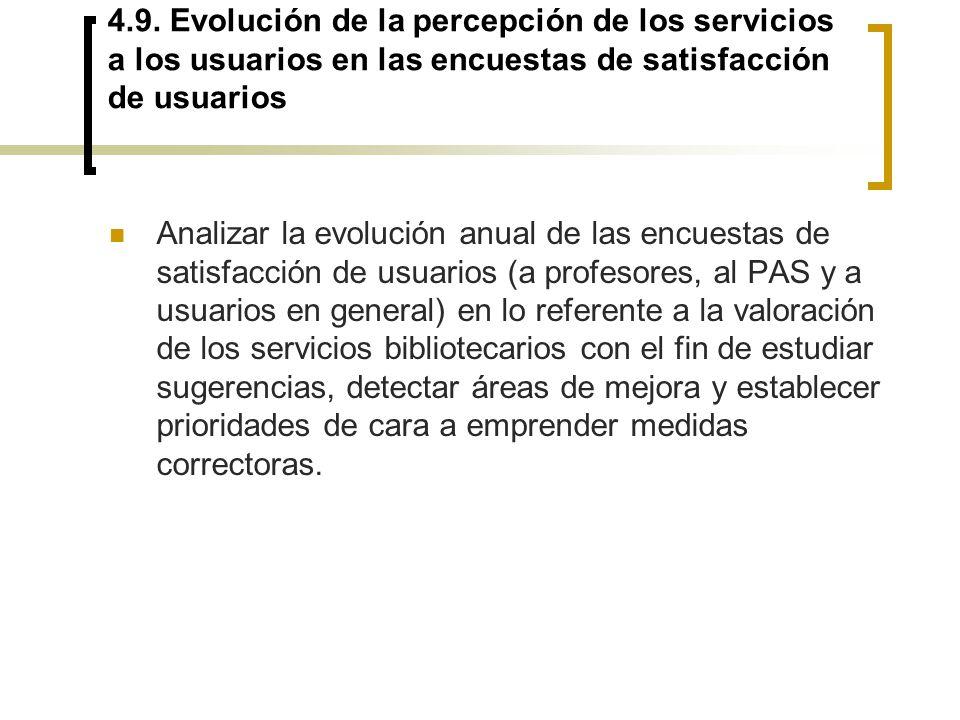 4.9. Evolución de la percepción de los servicios a los usuarios en las encuestas de satisfacción de usuarios Analizar la evolución anual de las encues