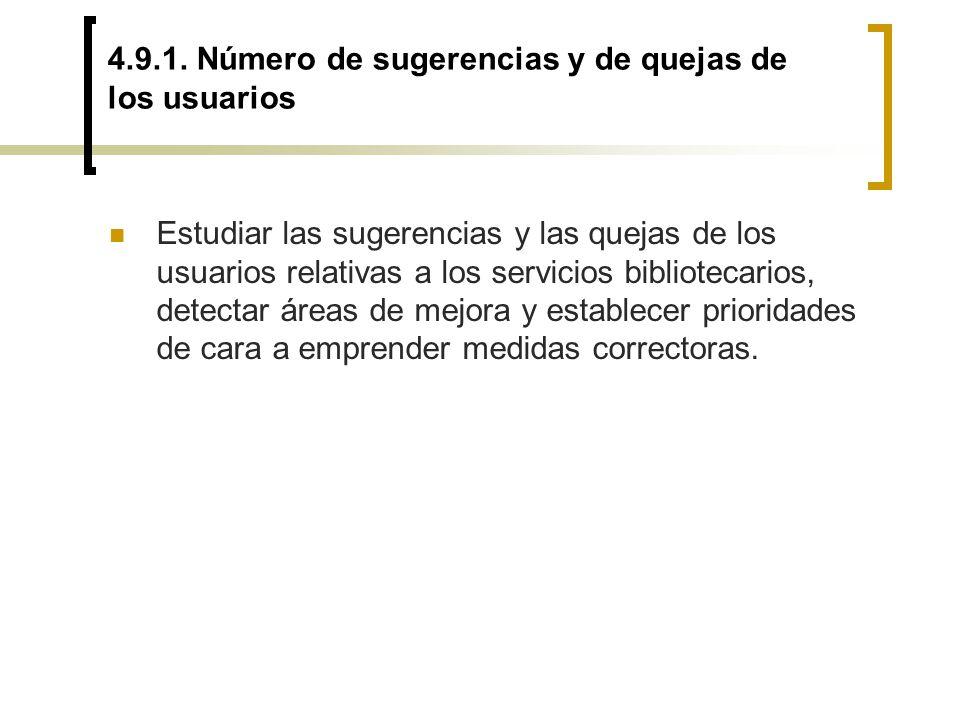 4.9.1. Número de sugerencias y de quejas de los usuarios Estudiar las sugerencias y las quejas de los usuarios relativas a los servicios bibliotecario
