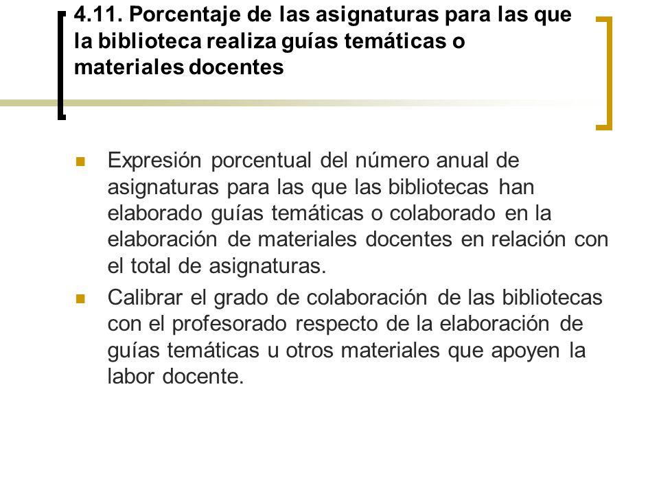 4.11. Porcentaje de las asignaturas para las que la biblioteca realiza guías temáticas o materiales docentes Expresión porcentual del número anual de