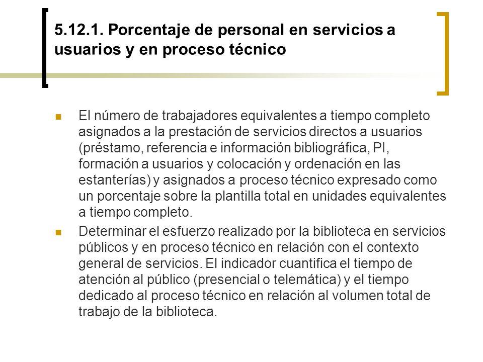 5.12.1. Porcentaje de personal en servicios a usuarios y en proceso técnico El número de trabajadores equivalentes a tiempo completo asignados a la pr
