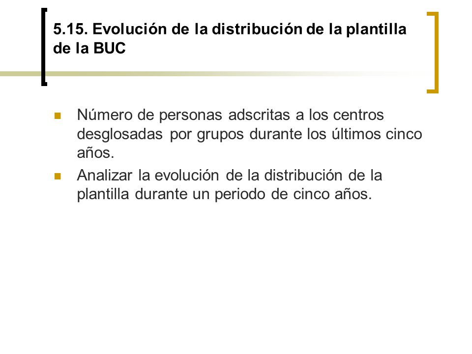 5.15. Evolución de la distribución de la plantilla de la BUC Número de personas adscritas a los centros desglosadas por grupos durante los últimos cin
