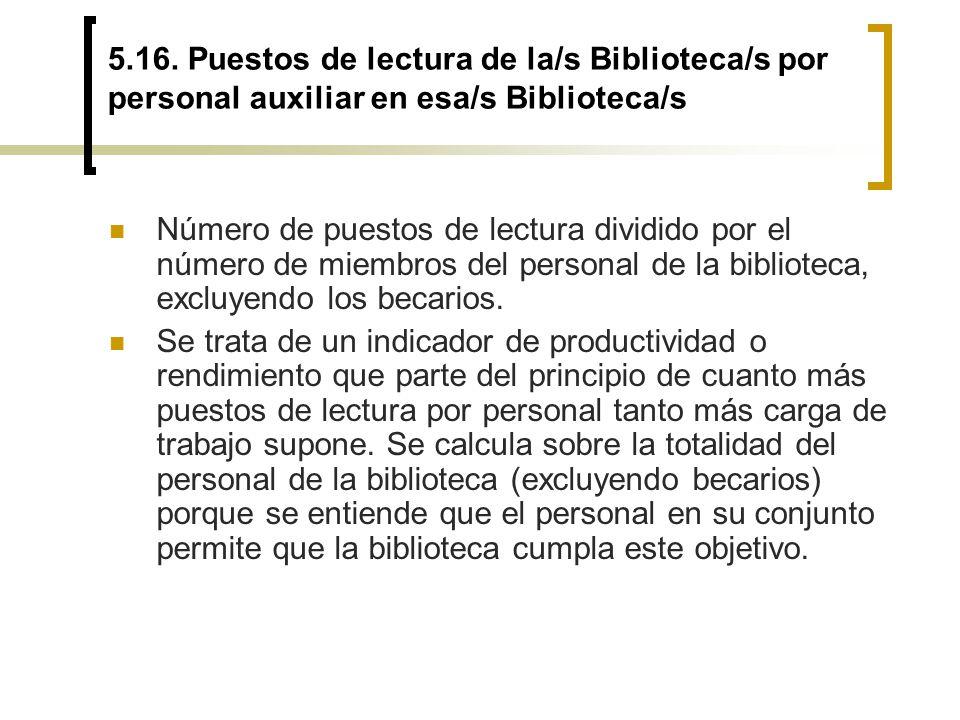 5.16. Puestos de lectura de la/s Biblioteca/s por personal auxiliar en esa/s Biblioteca/s Número de puestos de lectura dividido por el número de miemb