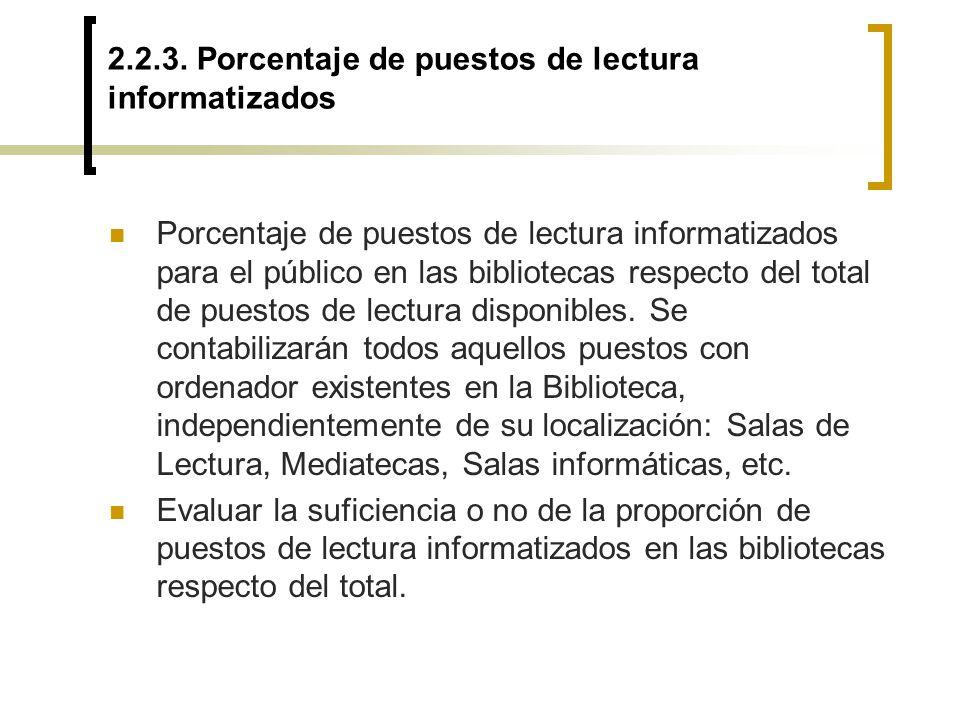 2.2.3. Porcentaje de puestos de lectura informatizados Porcentaje de puestos de lectura informatizados para el público en las bibliotecas respecto del