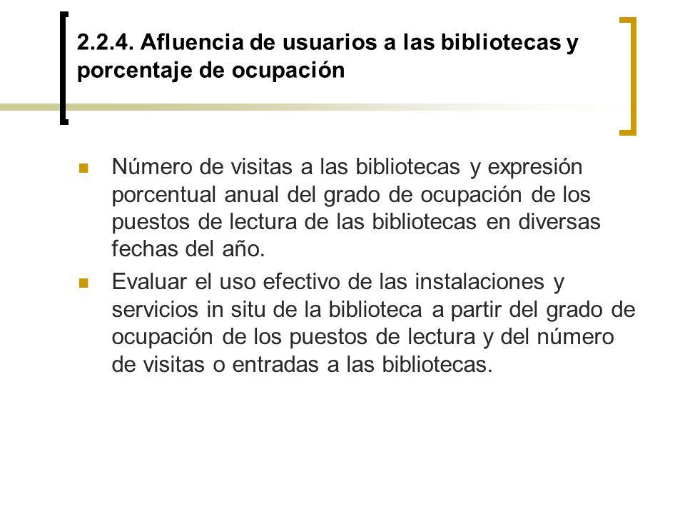 2.2.4. Afluencia de usuarios a las bibliotecas y porcentaje de ocupación Número de visitas a las bibliotecas y expresión porcentual anual del grado de