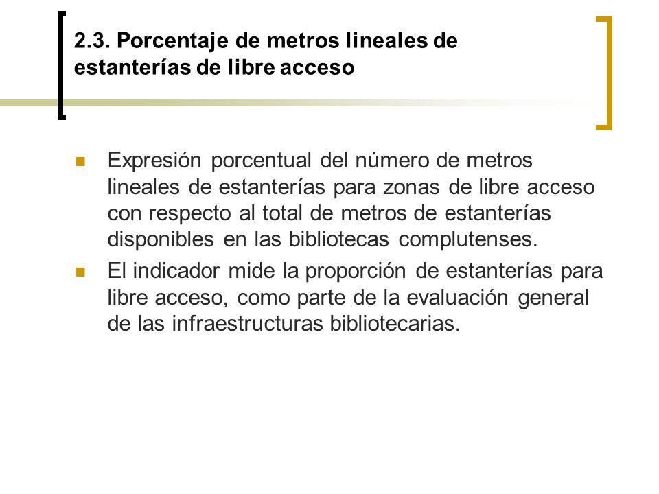 2.3. Porcentaje de metros lineales de estanterías de libre acceso Expresión porcentual del número de metros lineales de estanterías para zonas de libr