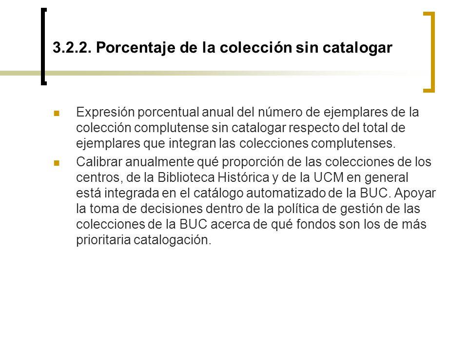 3.2.2. Porcentaje de la colección sin catalogar Expresión porcentual anual del número de ejemplares de la colección complutense sin catalogar respecto