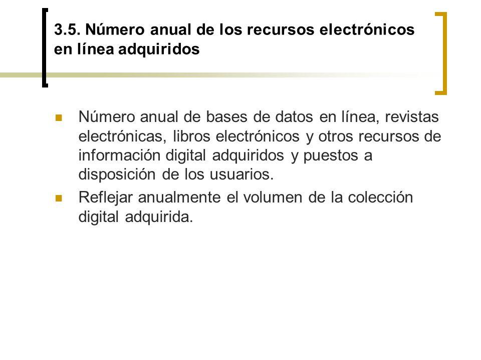 3.5. Número anual de los recursos electrónicos en línea adquiridos Número anual de bases de datos en línea, revistas electrónicas, libros electrónicos