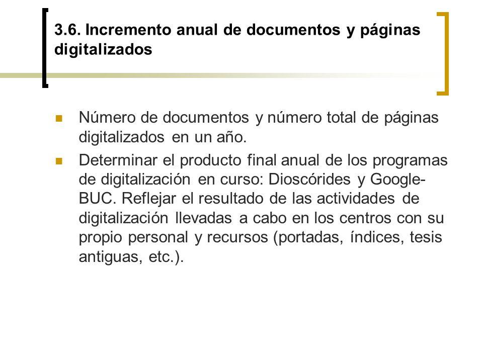3.6. Incremento anual de documentos y páginas digitalizados Número de documentos y número total de páginas digitalizados en un año. Determinar el prod
