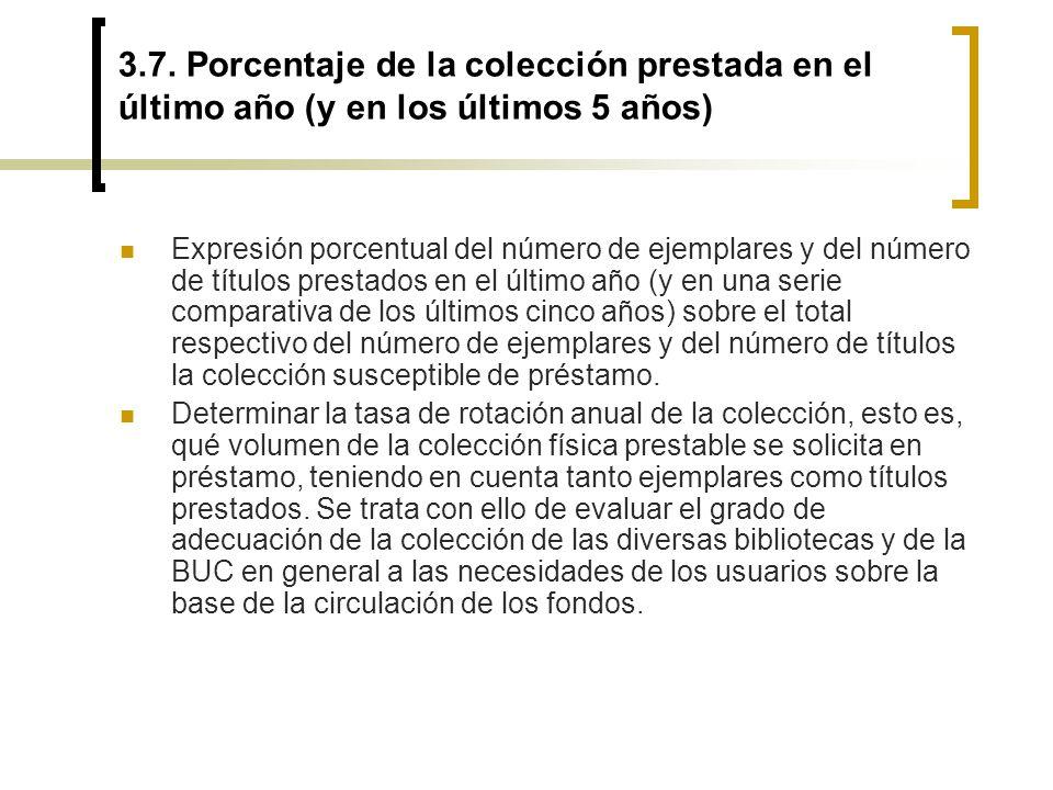 3.7. Porcentaje de la colección prestada en el último año (y en los últimos 5 años) Expresión porcentual del número de ejemplares y del número de títu