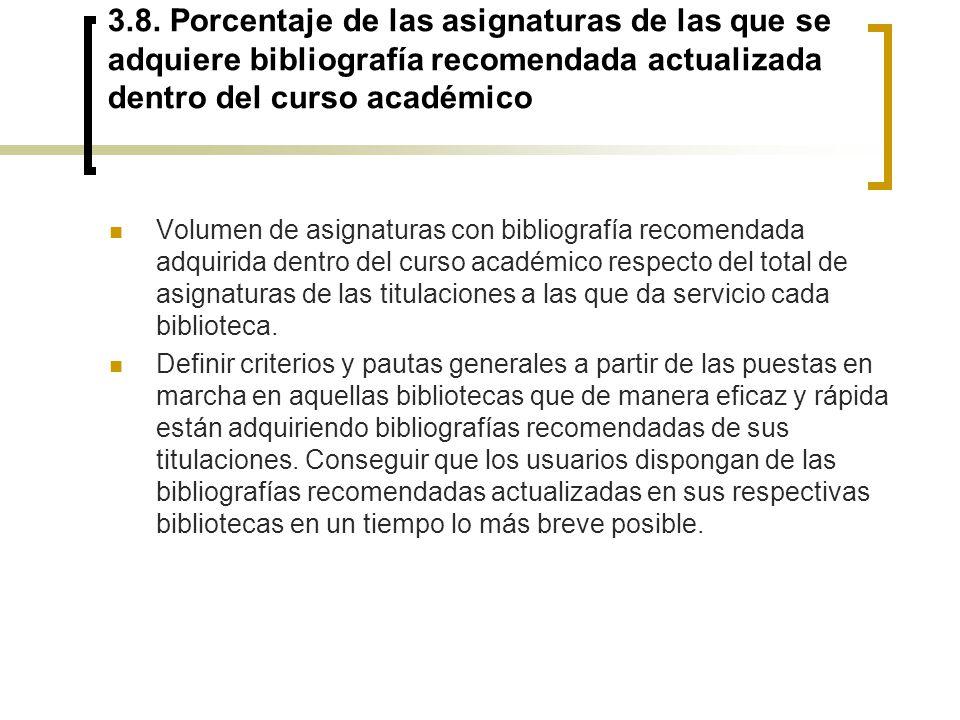 3.8. Porcentaje de las asignaturas de las que se adquiere bibliografía recomendada actualizada dentro del curso académico Volumen de asignaturas con b