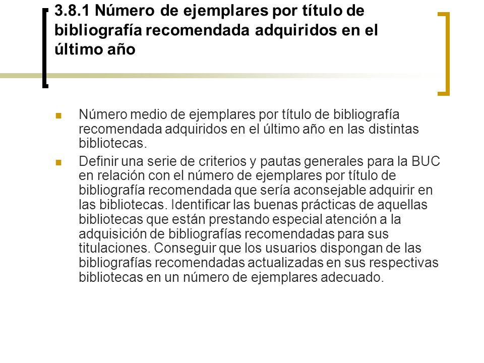 3.8.1 Número de ejemplares por título de bibliografía recomendada adquiridos en el último año Número medio de ejemplares por título de bibliografía re