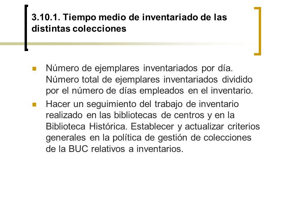 3.10.1. Tiempo medio de inventariado de las distintas colecciones Número de ejemplares inventariados por día. Número total de ejemplares inventariados