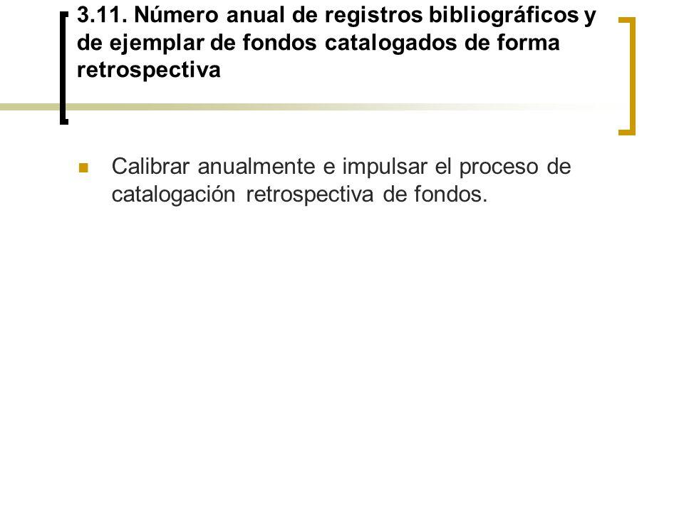 3.11. Número anual de registros bibliográficos y de ejemplar de fondos catalogados de forma retrospectiva Calibrar anualmente e impulsar el proceso de