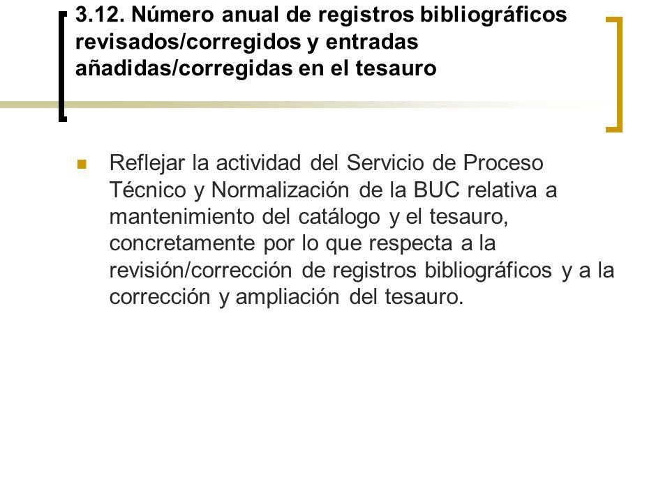 3.12. Número anual de registros bibliográficos revisados/corregidos y entradas añadidas/corregidas en el tesauro Reflejar la actividad del Servicio de