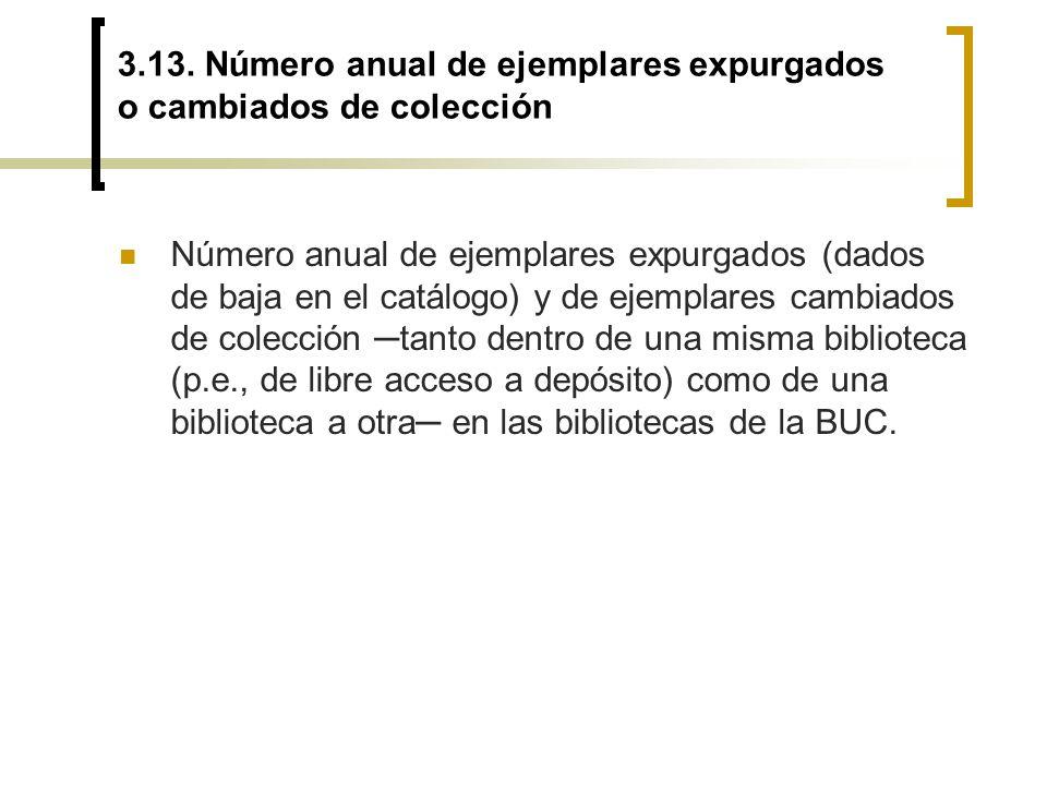 3.13. Número anual de ejemplares expurgados o cambiados de colección Número anual de ejemplares expurgados (dados de baja en el catálogo) y de ejempla