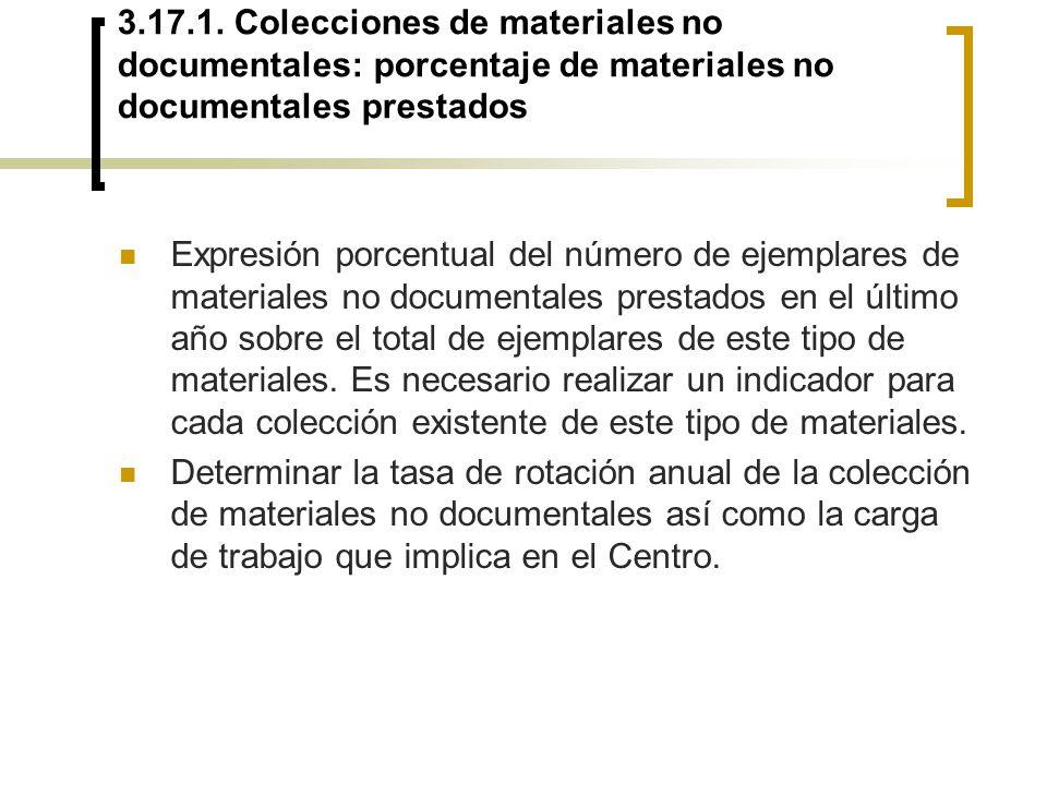 3.17.1. Colecciones de materiales no documentales: porcentaje de materiales no documentales prestados Expresión porcentual del número de ejemplares de
