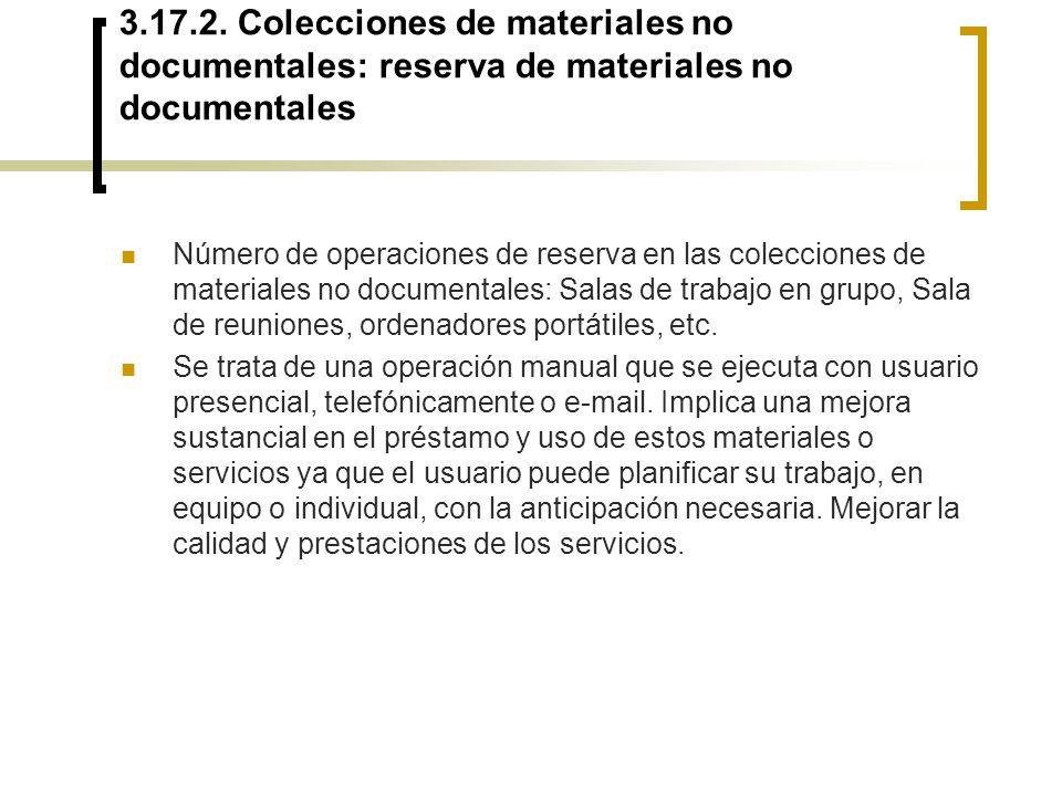 3.17.2. Colecciones de materiales no documentales: reserva de materiales no documentales Número de operaciones de reserva en las colecciones de materi