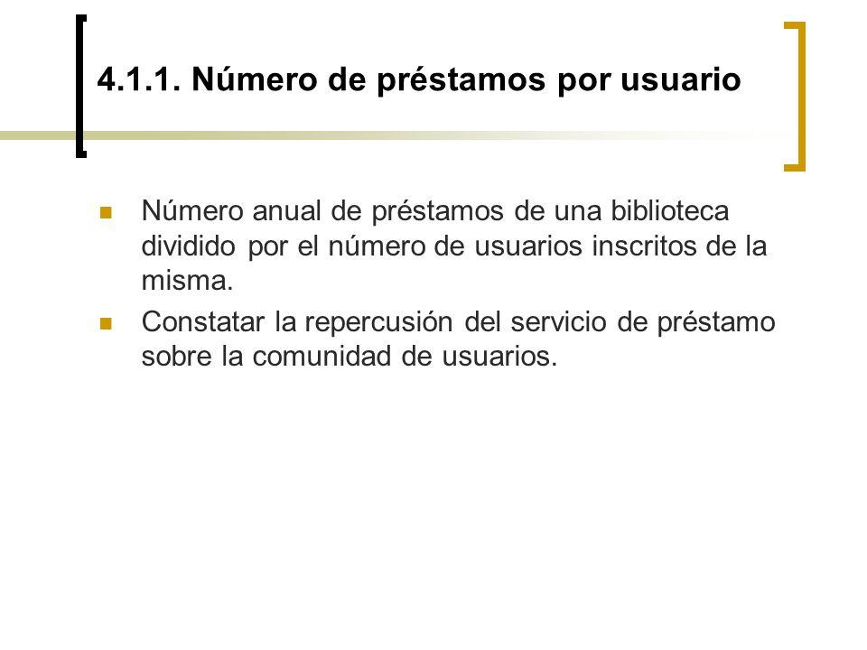 4.1.1. Número de préstamos por usuario Número anual de préstamos de una biblioteca dividido por el número de usuarios inscritos de la misma. Constatar