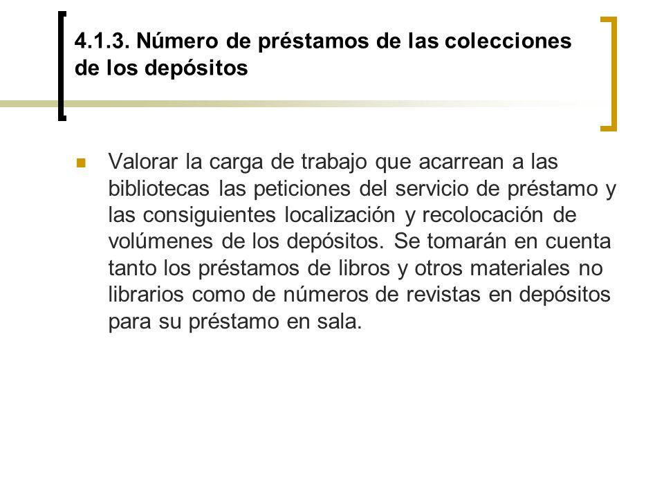 4.1.3. Número de préstamos de las colecciones de los depósitos Valorar la carga de trabajo que acarrean a las bibliotecas las peticiones del servicio