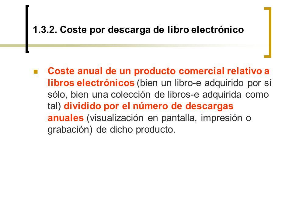 1.3.2. Coste por descarga de libro electrónico Coste anual de un producto comercial relativo a libros electrónicos (bien un libro-e adquirido por sí s