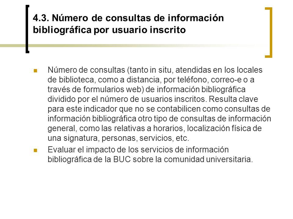 4.3. Número de consultas de información bibliográfica por usuario inscrito Número de consultas (tanto in situ, atendidas en los locales de biblioteca,