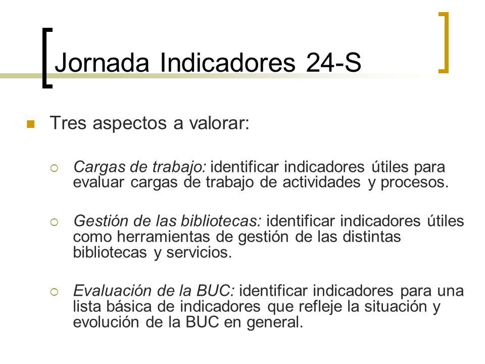 Jornada Indicadores 24-S Tres aspectos a valorar: Cargas de trabajo: identificar indicadores útiles para evaluar cargas de trabajo de actividades y pr
