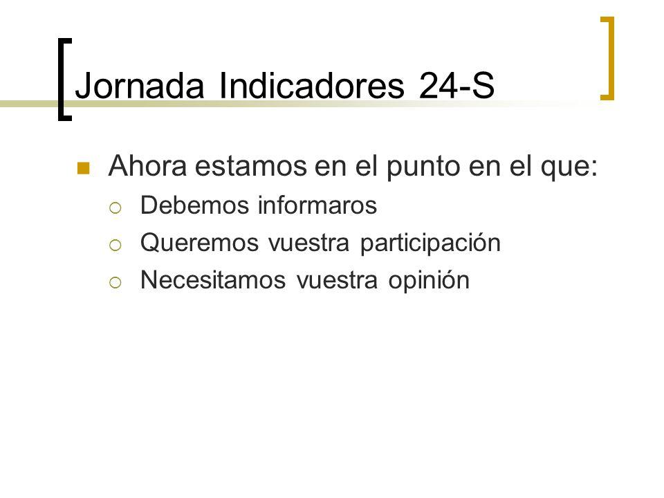 Jornada Indicadores 24-S Ahora estamos en el punto en el que: Debemos informaros Queremos vuestra participación Necesitamos vuestra opinión